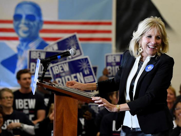 Dr Jill Biden introduces her husband, Democratic presidential candidate former Vice President Joe Biden , during a community event at Hyde Park Middle School on 21 February 2020 in Las Vegas, Nevada: (2020 Getty Images)