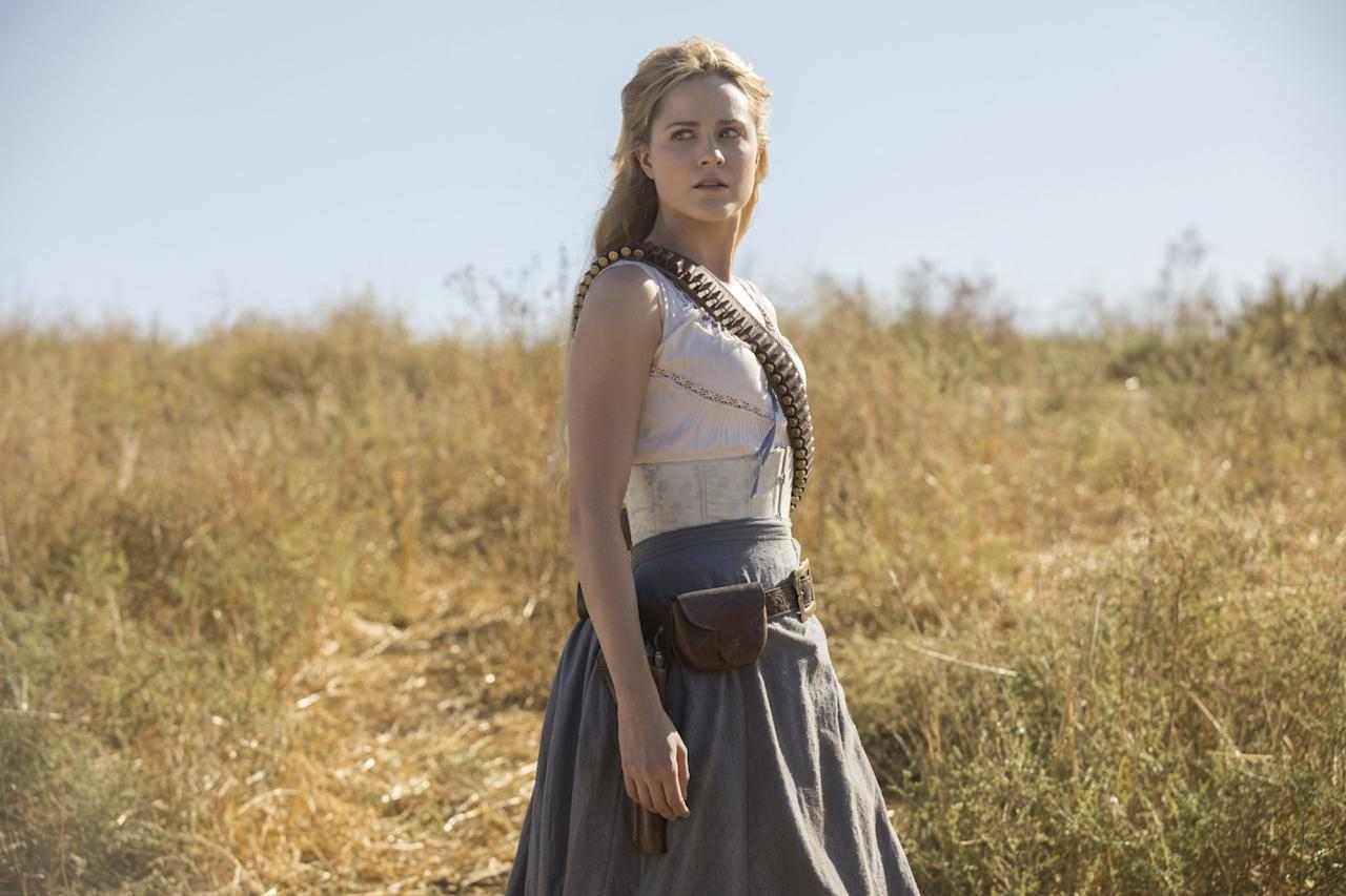 <p>Back in Season 1, Westworld's top host, Dolores (Evan Rachel Wood), had two storylines: Save her or woo her. Heading into the second season, she's nobody's damsel in distress. Having awakened into full consciousness and killed her creator in the process, she's now turning her (gun) sights on the rest of the humans unlucky enough to be trapped in Westworld. (Photo: John P. Johnson/HBO) </p>
