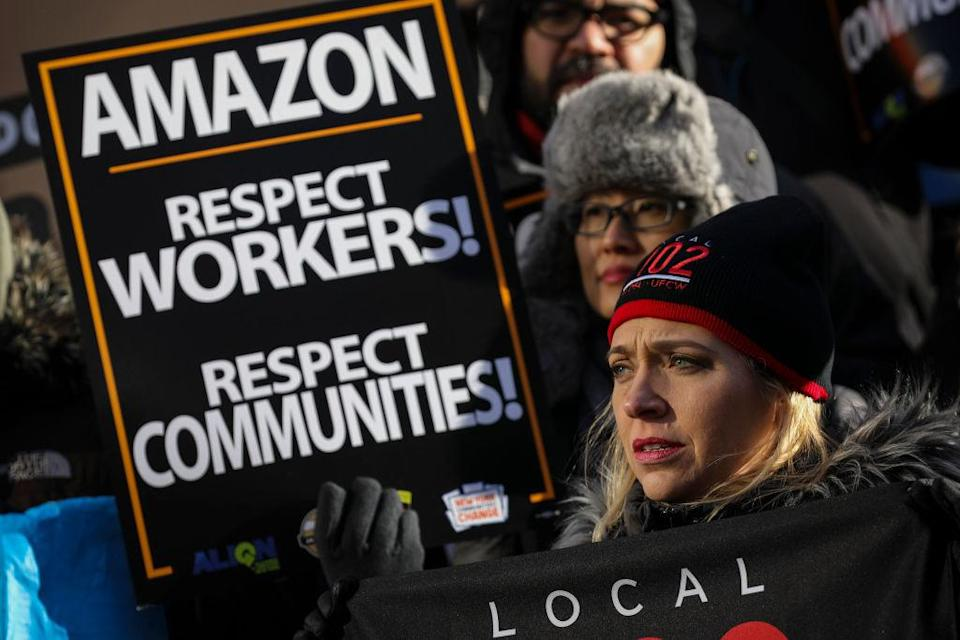 NEW YORK, NY - JANUARY 30: Protestors rally against Amazon and the company's plans to move their second headquarters to the Long Island City neighborhood of Queens, at New York City Hall, January 30, 2019 in New York City. Some Queens community members and activists say Amazon's move to Queens will further gentrify neighborhoods in the area and add more stress to an already struggling infrastructure system. (Photo by Drew Angerer/Getty Images)