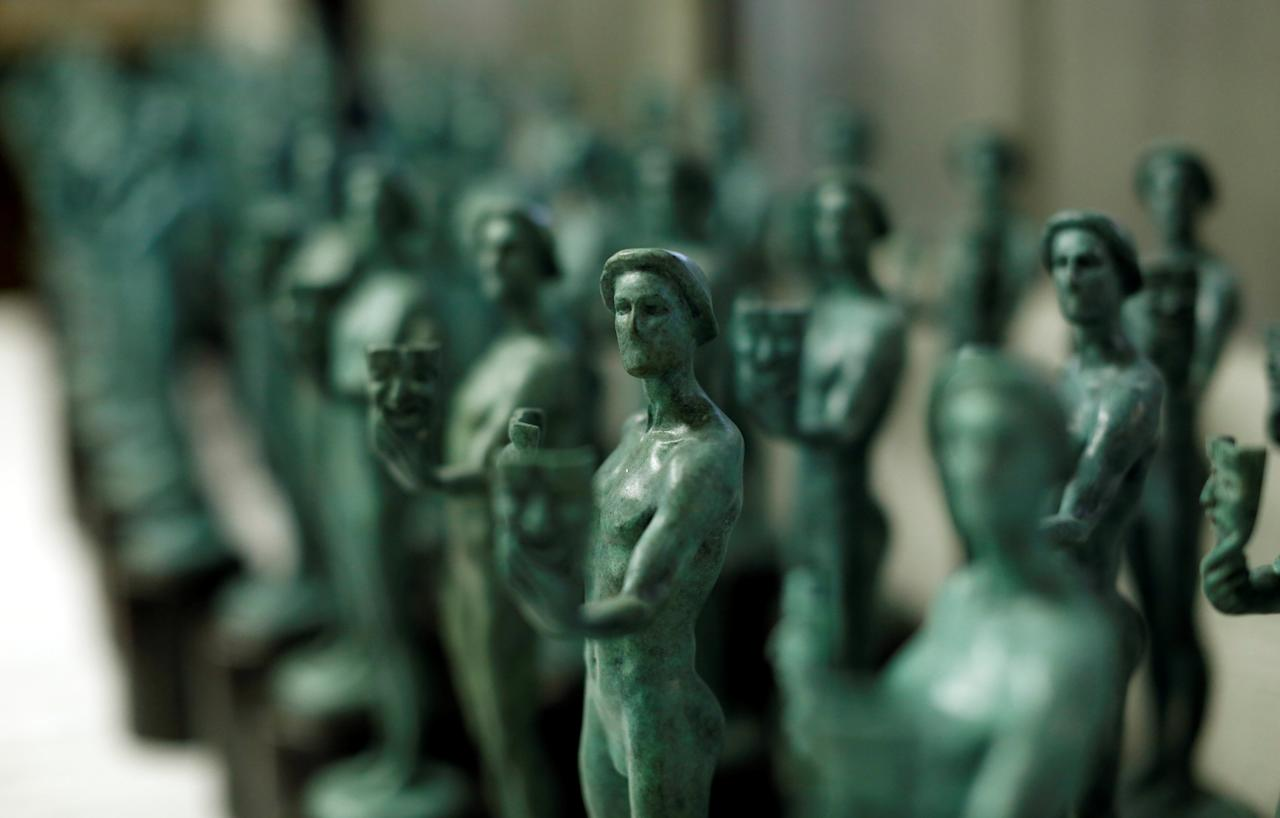 """A display of """"The Actor"""" statuettes is pictured during a media event on the production of the statuettes for the 23rd annual Screen Actors Guild Awards at American Fine Arts Foundry in Burbank, California, U.S., January 17, 2017.   REUTERS/Mario Anzuoni"""