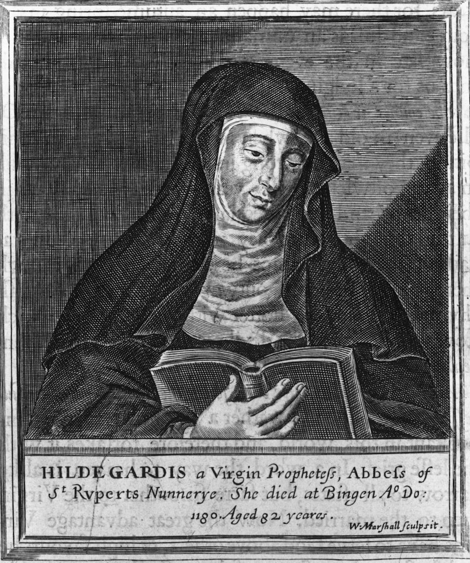 "<a href=""http://www.christianitytoday.com/ch/1991/issue30/3031.html?start=3"">Hildegard von Bingen</a> was a Benedictine abbess who lived between 1098 and 1179. Hildegard became a nun as a teenager, though she had received <a href=""http://www.americancatholic.org/Features/Saints/saint.aspx?id=1857"">divine visions</a> since early childhood. It wasn't until her 40s that Hildegard began writing a record of these visions, which came to be known as <i>Scivias</i> (Know the Ways). She went on to write other texts documenting her philosophy and also composed short works on medicine, natural history, music and more. Bishops, popes, and kings <a href=""http://legacy.fordham.edu/halsall/med/hildegarde.asp"">consulted her</a> at a time when few women engaged in the political domain. She was canonized by Pope Benedict XVI in 2012."