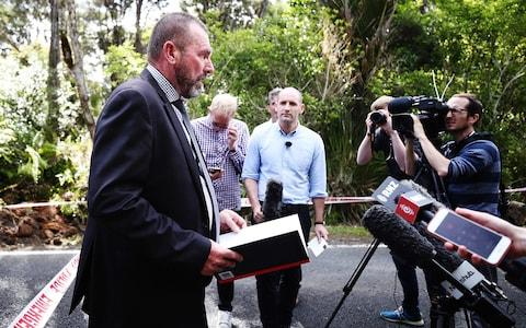 Detective Inspector Scott Beard speaks at the scene where the body of British tourist Grace Millane was found - Credit: Photo by Hannah Peters/Getty Images
