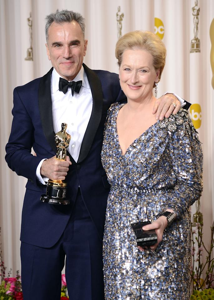 "HOLLYWOOD, CA - FEBRUARY 24:  Actor Daniel Day-Lewis, winner of the Best Actor award for ""Lincoln,"" and presenter Meryl Streep pose in the press room during the Oscars held at Loews Hollywood Hotel on February 24, 2013 in Hollywood, California.  (Photo by Jason Merritt/Getty Images)"