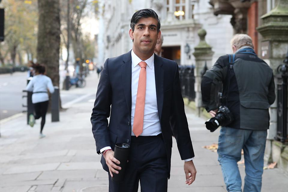 Chancellor of the Exchequer Rishi Sunak leaves Millbank broadcasting studios in Westminster, central London, after a round of media interviews following Wednesday's Spending Review aimed at dealing with the economic impact of the coronavirus crisis. (Photo by Yui Mok/PA Images via Getty Images)