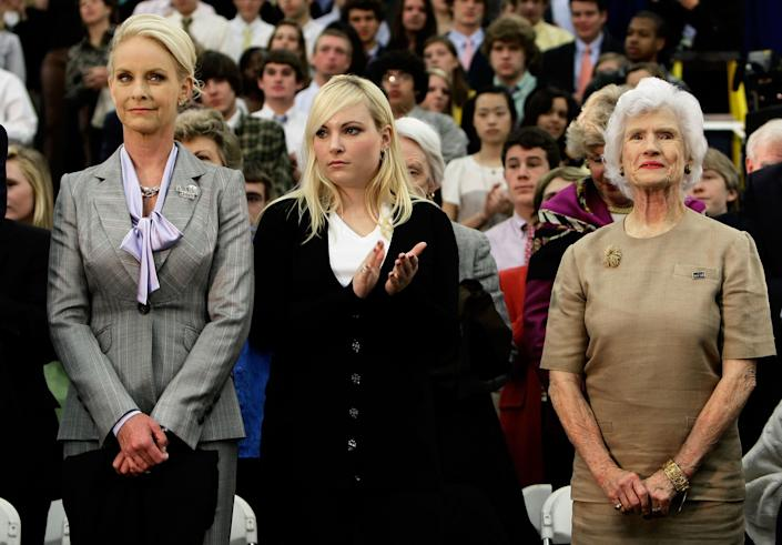 ALEXANDRIA, VA - APRIL 01: As Republican presidential candidate Sen. John McCain (R-AZ) is introduced, (L-R) McCain's wife Cindy, daughter Meghan, and mother Roberta look on during a campaign event at Episcopal High School April 1, 2008 in Alexandria, Virginia. McCain, who attended the high school, held a 'town hall' style meeting with questions from students during the event. (Photo by Win McNamee/Getty Images)