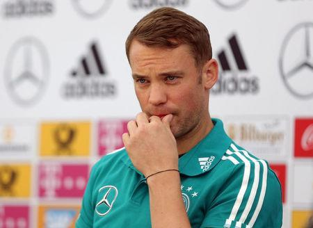 Soccer Football - FIFA World Cup - Germany Squad Announcement - Eppan, Italy - June 4, 2018 Germany's Manuel Neuer during the press conference REUTERS/Lisi Niesner