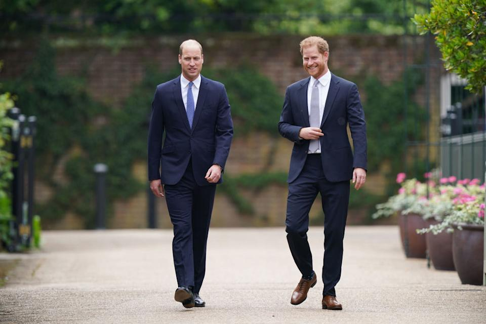 Prince William has wished his brother a happy Birthday, pictured here together in July 2021 at the unveiling of a statue of their mother, Diana, Princess of Wales. (Getty Images)