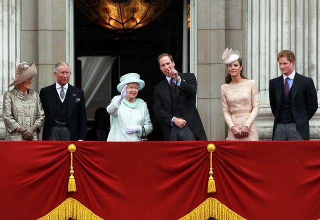 The royal family - without the Duke of Edinburgh - at Buckingham Palace during the Diamond Jubilee celebrations