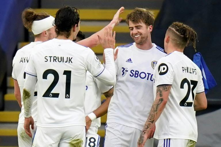 Leeds forward Patrick Bamford (second right) celebrates after scoring against Leicester