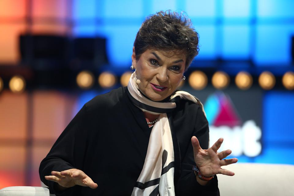 LISBON , PORTUGAL - 6 November 2019; Christiana Figueres, Founding Partner, Global Optimism, on Centre Stage during day two of Web Summit 2019 at the Altice Arena in Lisbon, Portugal. (Photo By Vaughn Ridley/Sportsfile for Web Summit via Getty Images)