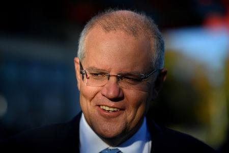 Australian Prime Minister Scott Morrison reacts on Election Day at Norwood Primary School in Launceston, Tasmania