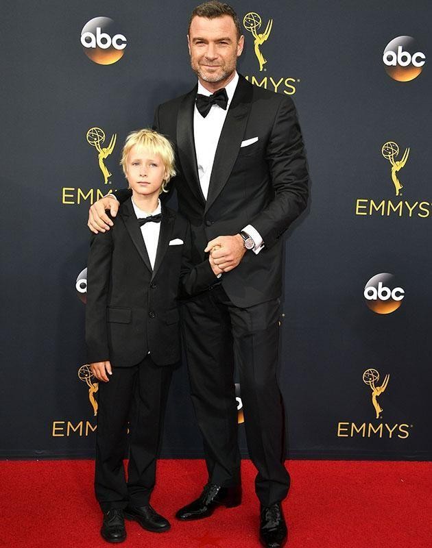 Liev with his son Sasha at the Emmy's. Source: Getty Images.