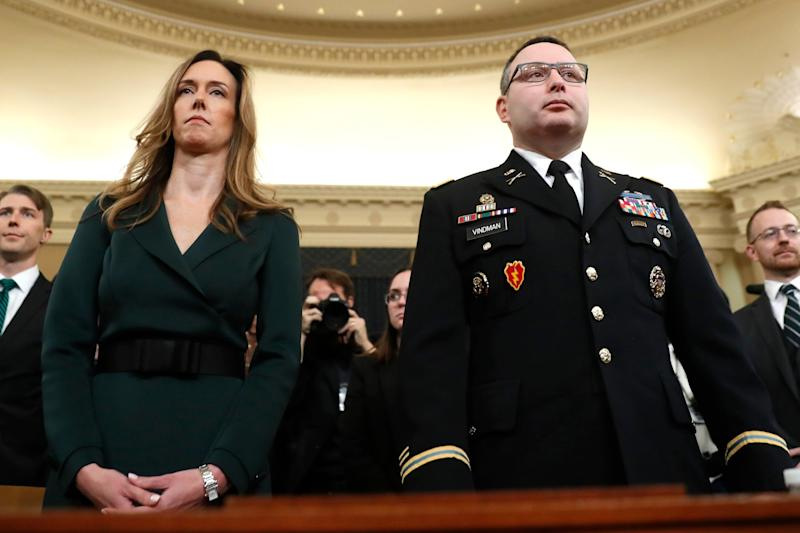 Jennifer Williams and Alexander Vindman prepare to testify at the impeachment hearings into Donald Trump: AP