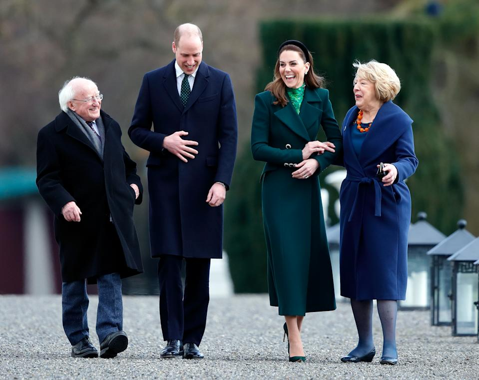 DUBLIN, IRELAND - MARCH 03: (EMBARGOED FOR PUBLICATION IN UK NEWSPAPERS UNTIL 24 HOURS AFTER CREATE DATE AND TIME) Prince William, Duke of Cambridge and Catherine, Duchess of Cambridge walk around the grounds of Áras an Uachtaráin with President of Ireland, Michael D. Higgins and wife Sabina Coyne on March 3, 2020 in Dublin, Ireland. The Duke and Duchess of Cambridge are undertaking an official visit to Ireland at the request of the Foreign and Commonwealth Office. (Photo by Max Mumby/Indigo/Getty Images)