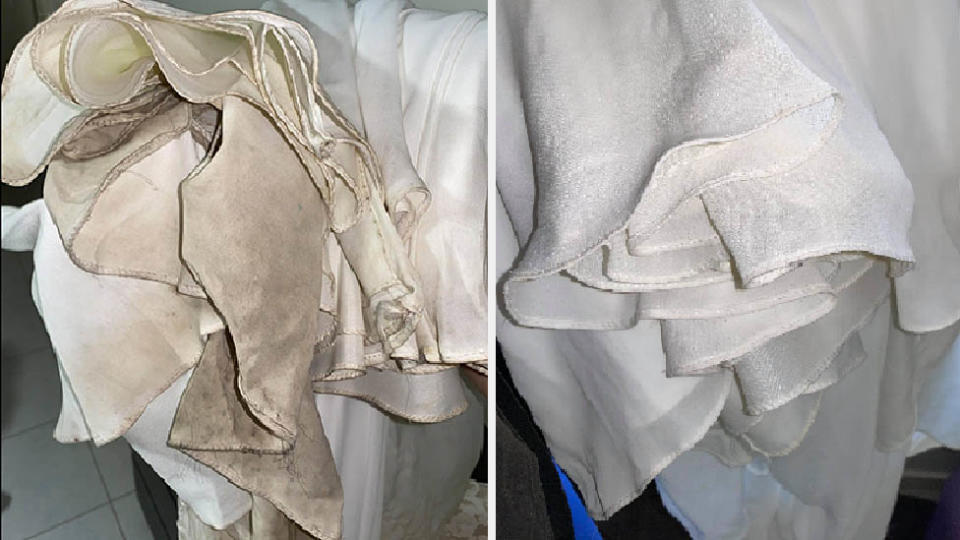 side by side image of dirty wedding gown hem and clean hem after clean