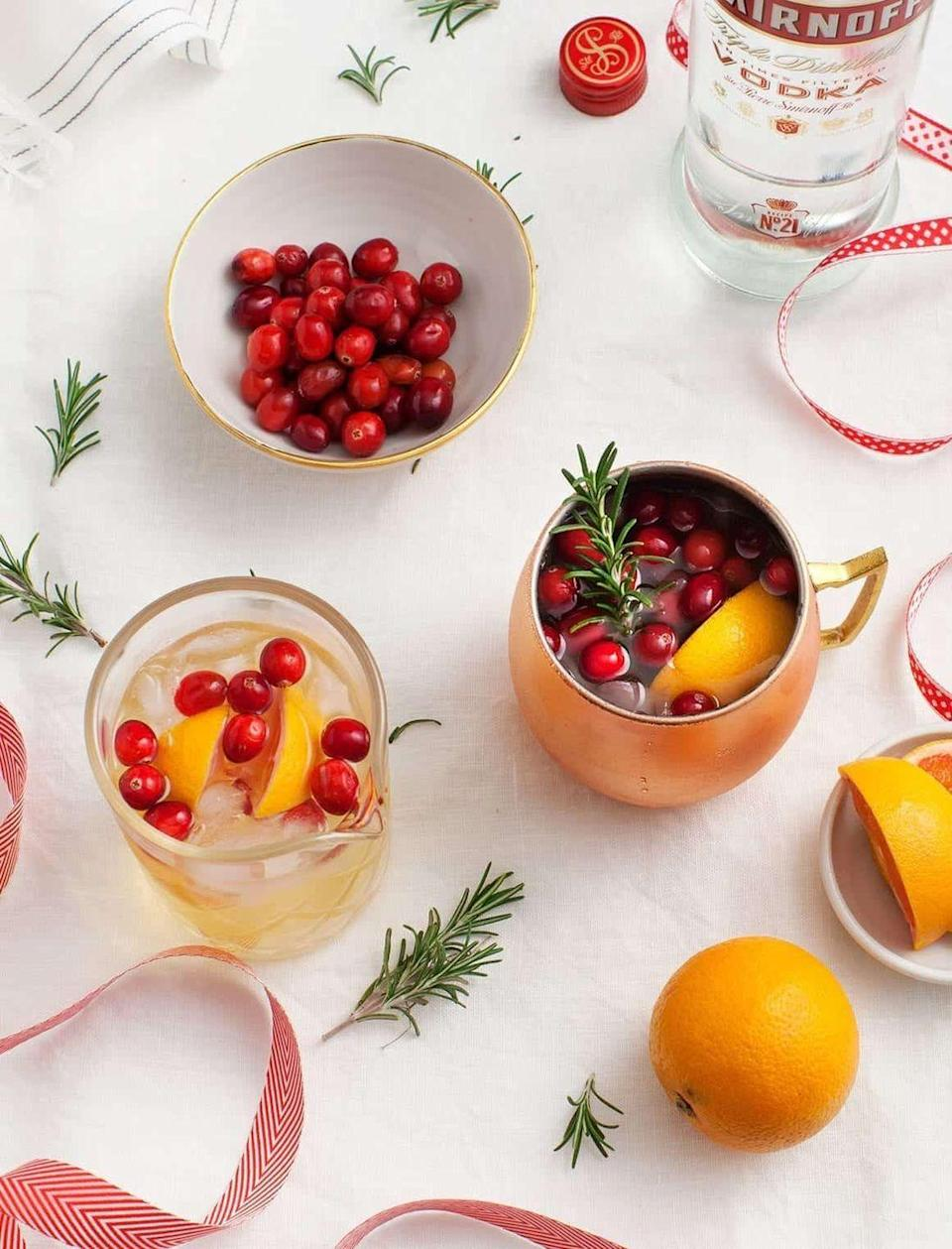 """<p>Instead of ginger beer, the main ingredient in this fun and festive spin on the traditional Moscow Mule (besides vodka) is ginger kombucha. </p><p><em>Get the recipe at <a href=""""https://www.loveandlemons.com/winter-spiced-moscow-mule/"""" rel=""""nofollow noopener"""" target=""""_blank"""" data-ylk=""""slk:Love and Lemons"""" class=""""link rapid-noclick-resp"""">Love and Lemons</a>. </em></p>"""