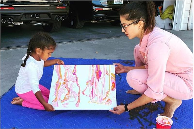 Sunny Leone Creates Art with Daughter Nisha and Shares it on Instagram