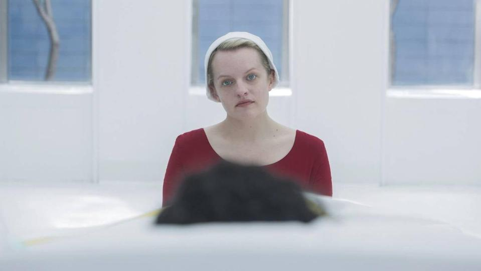Offred (Elisabeth Moss) patiently waiting for Season 4 to begin.
