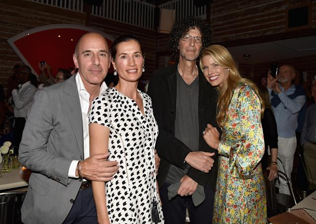 Matt Lauer and Annette Roque Lauer with Howard Stern and Beth Ostrosky Stern at Apollo in the Hamptons 2017 in East Hampton, N.Y., on Aug. 12, 2017. (Photo: Patrick McMullan/Patrick McMullan via Getty Images)