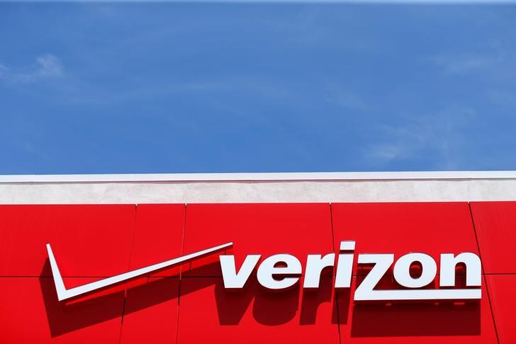 A Verizon sign at a retail store in San Diego