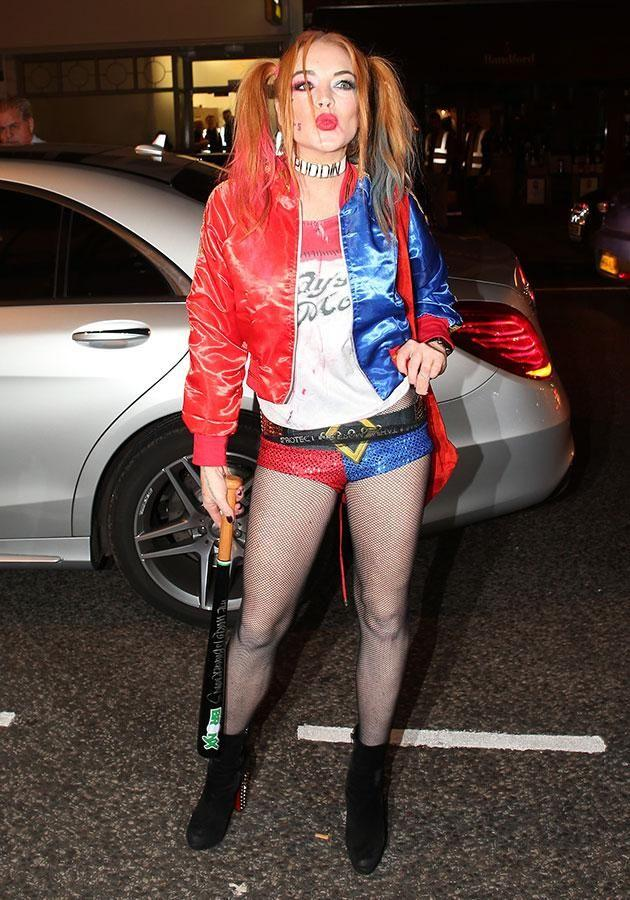 Lindsay shared a video of herself walking down a street in her Halloween getup. Source: Getty