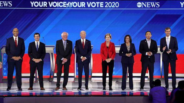 PHOTO: Democratic presidential candidates appear on stage before the start of the Democratic Presidential Debate at Texas Southern University's Health and PE Center on Sept. 12, 2019, in Houston. (Win Mcnamee/Getty Images)