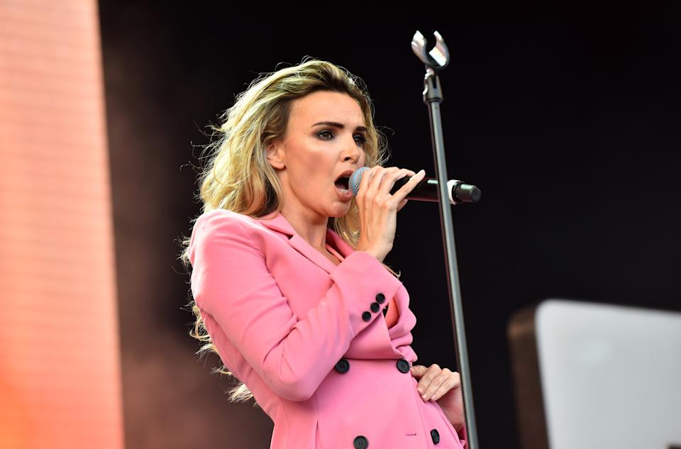 LONDON, ENGLAND - JULY 14:  Nadine Coyle performs on stage at Kew The Music at Kew Gardens on July 14, 2018 in London, England.  (Photo by C Brandon/Redferns)