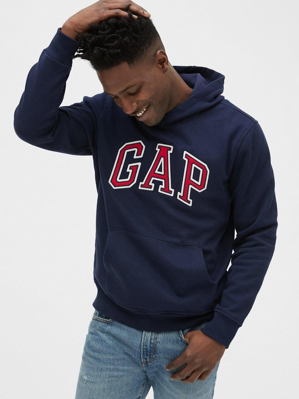 <p>The <span>Gap Arch Logo Hoodie</span> ($47, originally $60) in navy is a great classic paired with jeans and white sneakers.</p>