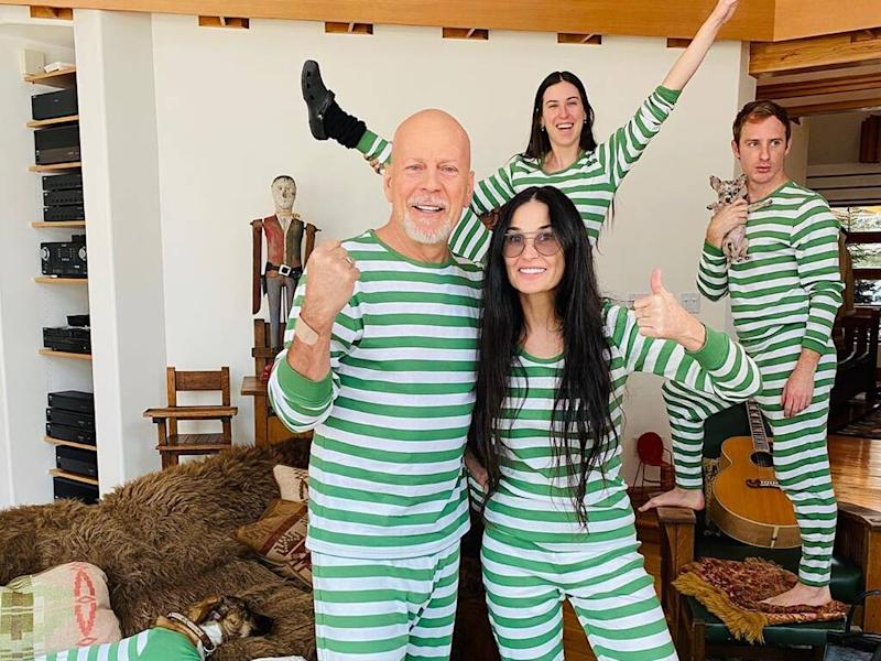 Exes Bruce Willis and Demi Moore put on united front in family quarantine snap