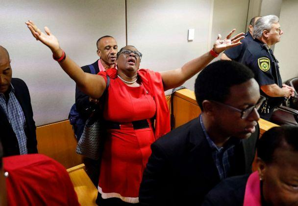 PHOTO: Botham Jean's mother, Allison Jean, rejoices in the courtroom after fired Dallas police Officer Amber Guyger was found guilty of murder, Oct. 1, 2019, in Dallas. (Tom Fox/The Dallas Morning News via AP, Pool)