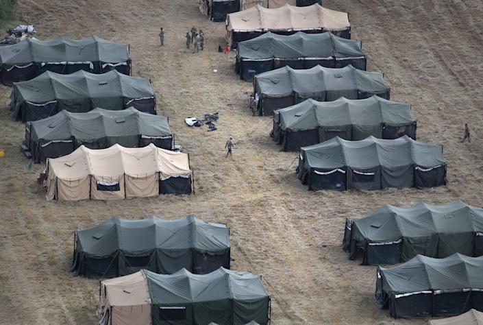 U.S. Army tents stand at a new military camp under construction at the U.S.-Mexico border on Nov. 7, 2018 in Donna, Texas.