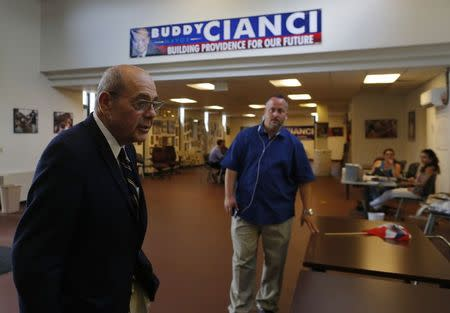 "Vincent ""Buddy"" Cianci, former mayor and current mayoral candidate of Providence, stands in his campaign headquarters in Providence, Rhode Island August 12, 2014. REUTERS/Brian Snyder"