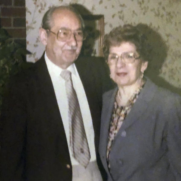 This undated photo provided by the family in May 2020 shows Phyllis Antonetz and her husband, Alexander. She died of COVID-19 at 103 on April 17, 2020. (Family photo via AP)