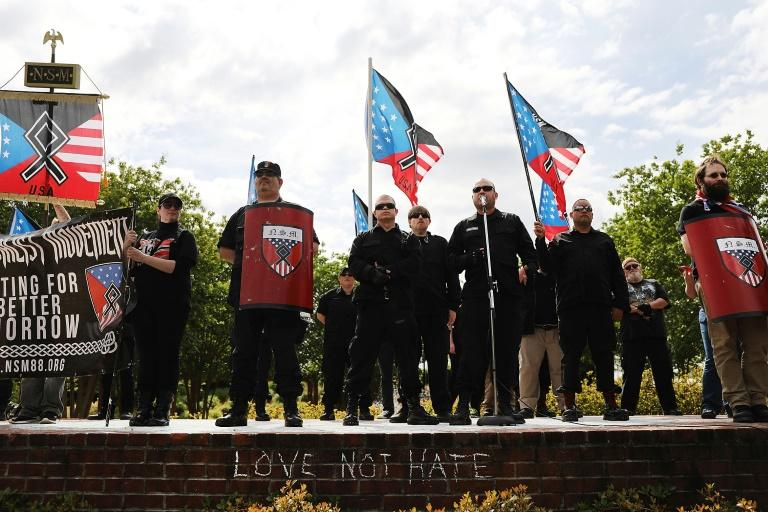 Members and supporters of the National Socialist Movement, one of the largest neo-Nazi groups in the US, hold a rally on April 21, 2018 in Newnan, Georgia (AFP Photo/SPENCER PLATT)