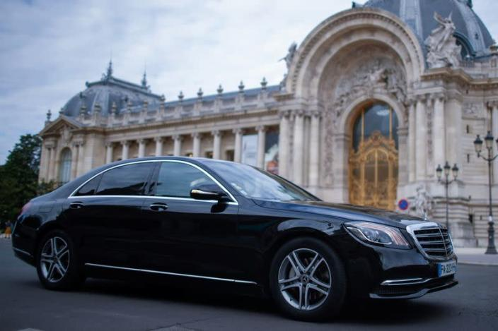A Mercedes-Benz luxury car of Chabe, Chauffeured Cars Services, is seen near the Grand Palais in Paris