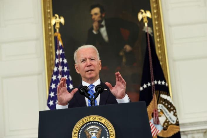 FILE PHOTO: U.S. President Joe Biden delivers remarks on the economy from the White House in Washington