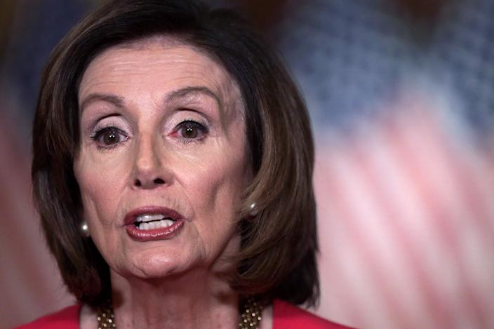 House Speaker Nancy Pelosi, D-Calif., delivers a statement at the U.S. Capitol on Monday.