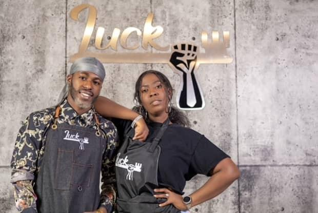 Lucky and Ediri Okurame say Black people looking to get their hair cut and styled are underserved in Regina. They took a risk and opened a new salon in the midst of a pandemic to serve that niche market. (Chuks Focus - image credit)