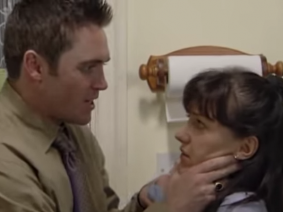 Horrifying: Alex Ferns and Kacey Ainsworth as Trevor and Little Mo in 'EastEnders' (BBC)