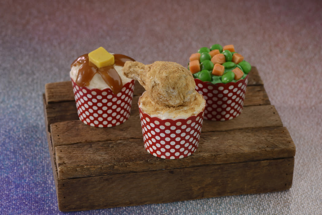These dinner-themed cupcakes, available at Disney's Fort Wilderness Resort & Campgrounds, look savory but taste sweet. (Photo: Walt Disney World Resort)