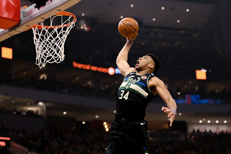Giannis Antetokounmpo #34 of the Milwaukee Bucks dunks the ball in the first quarter against the Oklahoma City Thunder at the Fiserv Forum on February 28, 2020 in Milwaukee, Wisconsin. NOTE TO USER: User expressly acknowledges and agrees that, by downloading and or using this photograph, User is consenting to the terms and conditions of the Getty Images License Agreement. (Photo by Dylan Buell/Getty Images)