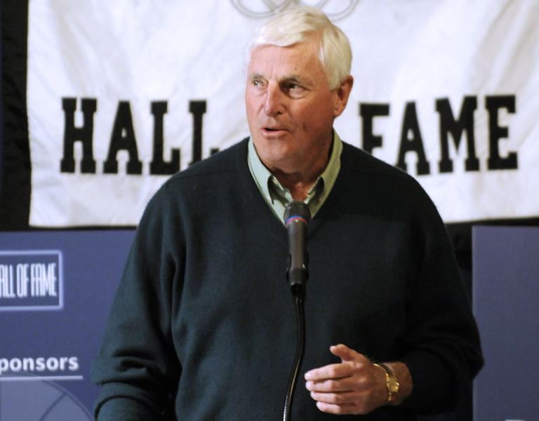FILE - In this Dec. 17, 2009, file photo, former basketball coach Bob Knight speaks at a fundraising dinner for the Indiana Basketball Hall of Fame in Indianapolis. After finding out how much those souvenirs cluttering the drawers around his house were worth, Bob Knight decided to auction most of them off. Included are his three NCAA championship rings, an Olympic gold medal and even one of his sport coats.(AP Photo/Tom Strickland, File)