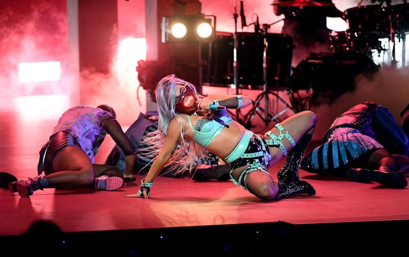 NEW YORK, NEW YORK - AUGUST 30: (EDITORS NOTE: This image has been digitally altered.) Lady Gaga performs during the 2020 MTV Video Music Awards, broadcast on Sunday, August 30th 2020. (Photo by Kevin Winter/MTV VMAs 2020/Getty Images for MTV)