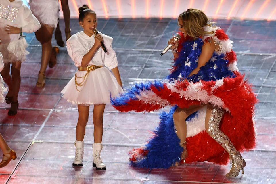Jennifer Lopez and her daughter Emme Maribel Muñiz perform while a Puerto Rican flag is displayed on stage during the Pepsi Super Bowl LIV Halftime Show at Hard Rock Stadium on February 02, 2020 in Miami, Florida.
