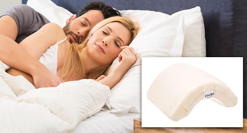 Couples can now buy a pillow to help them spoon comfortably. [Photo: Getty/Amazon]