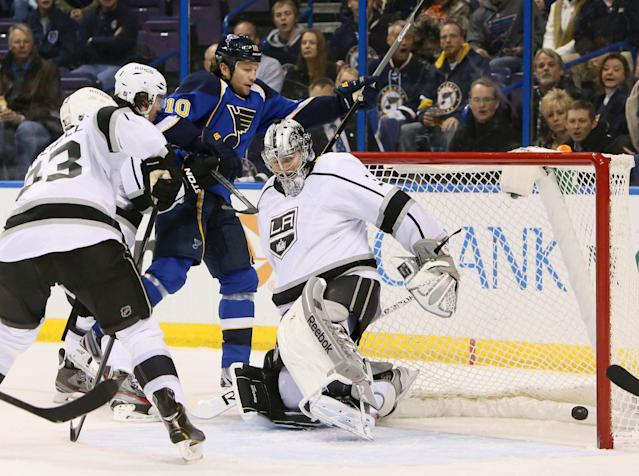 St. Louis Blues left wing Brenden Morrow (10) scores a power play goal past Los Angeles Kings goaltender Martin Jones in first period action during a game between the St. Louis Blues and the Los Angeles Kings on Thursday, Jan. 2 2014, at the Scottrade Center in St. Louis.(AP Photo/St. Louis Post-Dispatch, Chris Lee)