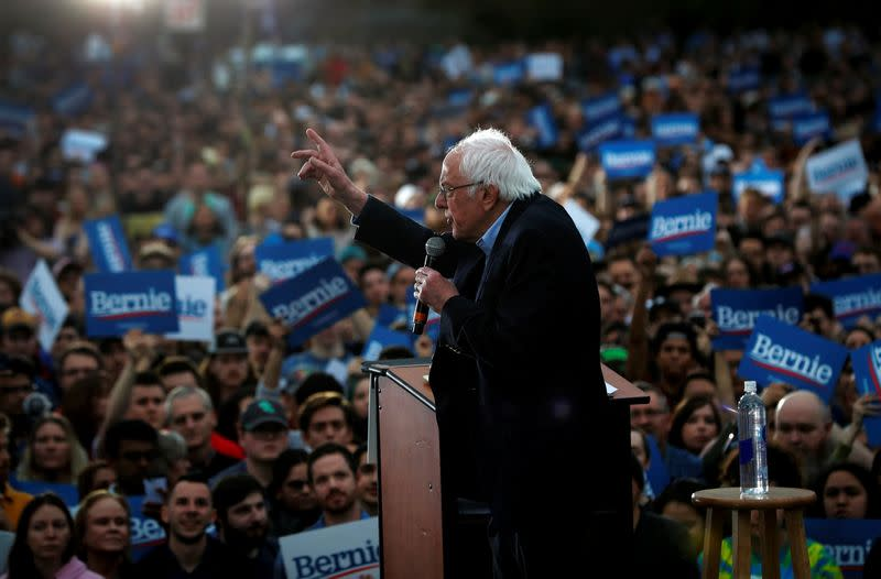 Democratic U.S. presidential candidate Senator Bernie Sanders speaks an outdoor campaign rally in Austin