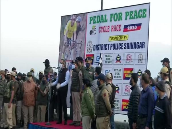 At the 'Pedal for peace' cycle race in Srinagar on Sunday. (Photo/ANI)