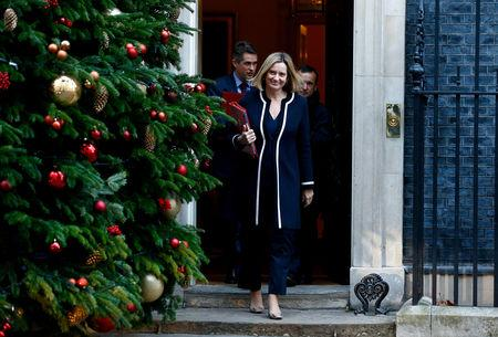 FILE PHOTO: Britain's Secretary of State for Work and Pensions, Amber Rudd leaves 10 Downing Street, London
