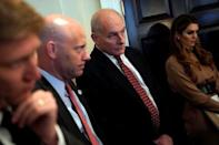 (L-R) Nick Ayers, Chief of Staff to U.S. Vice President Mike Pence, White House Director of Legislative Affairs Marc Short, White House Chief of Staff John Kelly, and White House Communications Director Hope Hicks watch as U.S. President Donald Trump holds a cabinet meeting at the White House in Washington, U.S., December 20, 2017. REUTERS/Jonathan Ernst